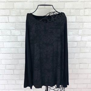 Cynthia Rowley Black Textured Long Sleeve Top, L